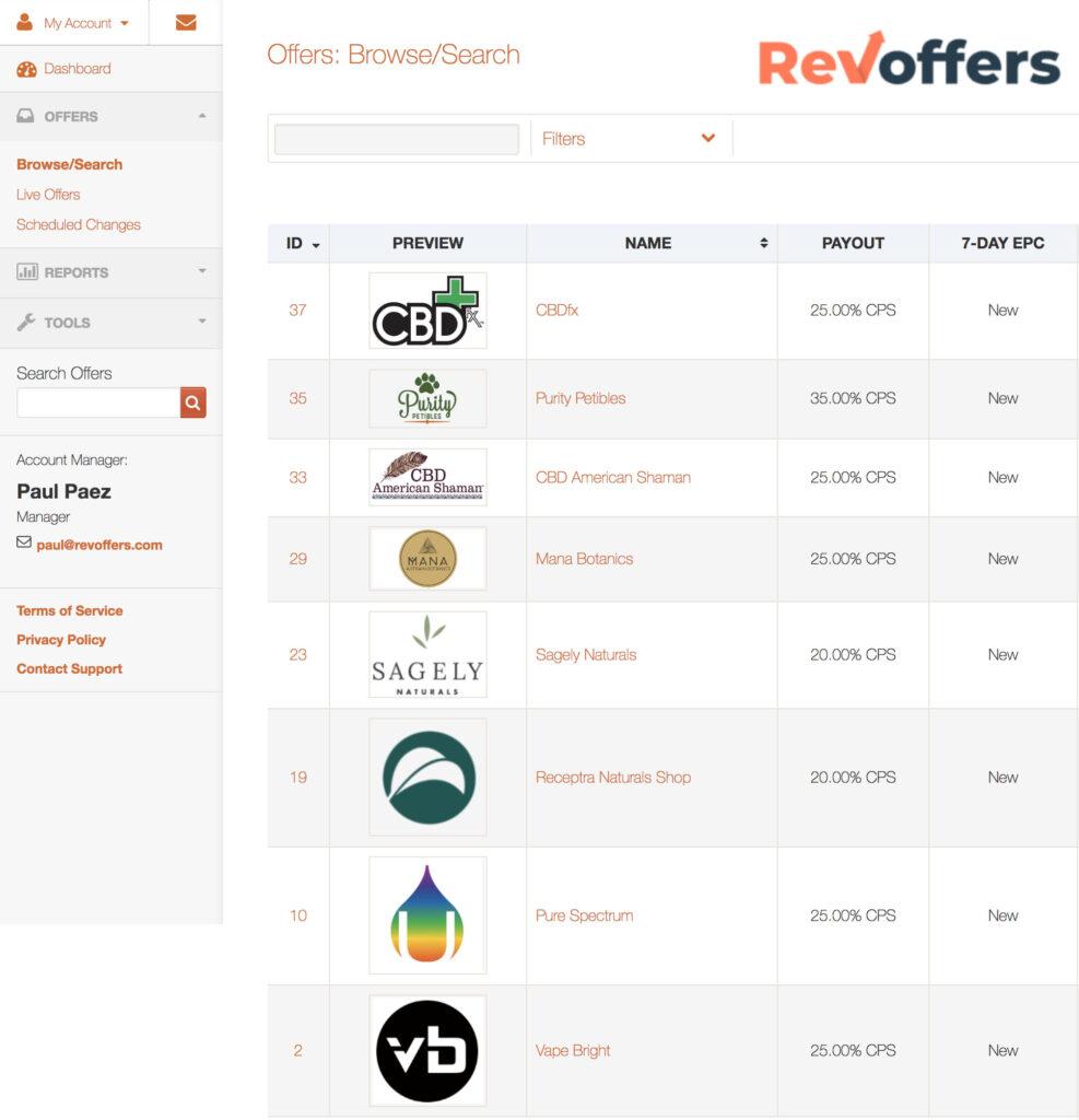 RevOffers CBD Affiliate Programs Dashboard